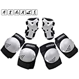 ChromeWheels Kids Knee Pads Elbow Pad Wrist Guards Protective Gear Set for Girls Boys Roller Skates Cycling BMX Bike Skateboard Rollerblade Scooter Inline Skating Multi Outdoor Sports