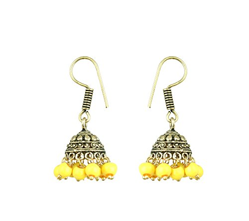 Waama Jewels Beautiful Yellow Pearl Gold Plated Jhumki For Daily Wear, Office Wear, Party Wear, Best Selling Earrings  available at amazon for Rs.99