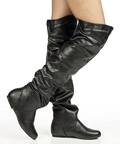 Women'S New Slouchy Over The Knee High Boots By Room Of Fashion Black Blue (10) back-401745