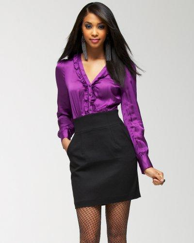 bebe Tiny Ruffles Silk Top Dress