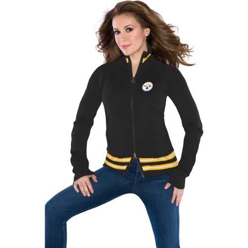 NFL Touch by Alyssa Milano Pittsburgh Steelers Ladies Mix Full Zip Jacket - Black (XX-Large) at Amazon.com