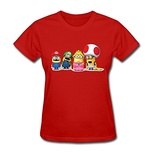 HUBA Women's T Shirts Super Mario Bros 3 Minions Red