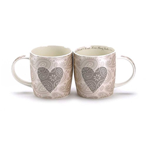 Dicksons 13 Ounce New Bone China Scripture Mug with Paisley Heart Design