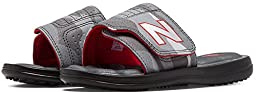 New Balance Classic WP Slide Sandal (Little Kid/Big Kid), Black/Grey, 5 M US Big Kid