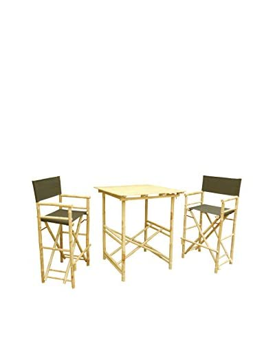 ZEW, Inc. High Table & Director Chair Set, Black