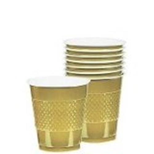 Gold Sparkle Plastic Drinking Cups 9oz 20 Ct. Cocktail Size Wash and Reuse