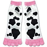 Dairy Cow Print Pattern Women's Chic Novelty Toe Socks