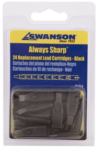 Swanson CPLBLK Black Replacement Lead Cartridges for AlwaysSharp Carpenter Pencil - 24 per package