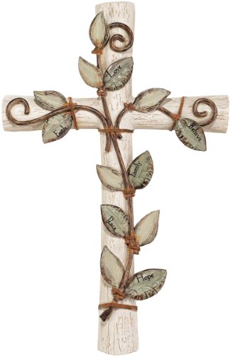 Leaf Wall Cross Medium - Faith Hope Love Believe Family Peace