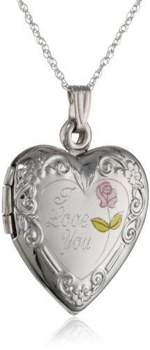 "Duragold 14k White Gold ""I Love You"" Heart Locket Necklace, 18″"