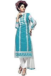 AAR VEE Light Blue Embroidered Dress Material
