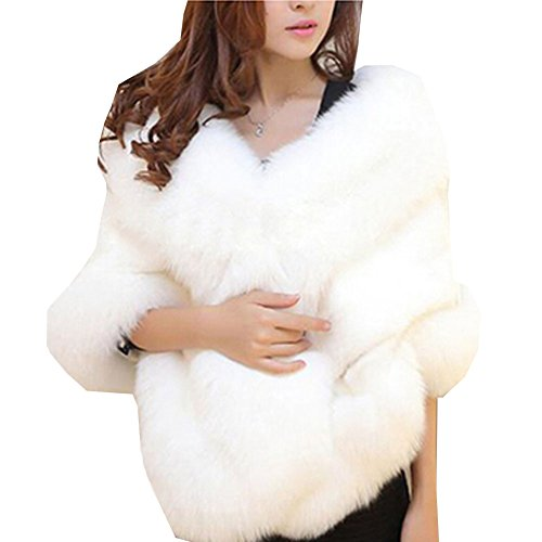 Luxury Faux Fur Winter Shawl Wrap Women Sarves White