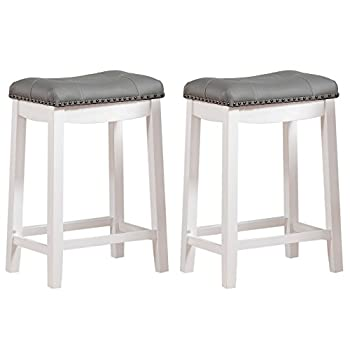 Angel Line Cambridge Padded Saddle Stool, White with Gray Cushion, 24