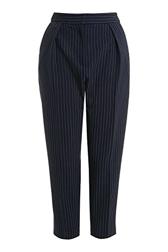 Women's Fit Straight Leg Pinstripe Casual Trousers (s, deep_blue) (Women Pinstripe Pants compare prices)