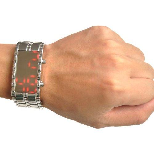 Bestdealusa Silver Strap Lava Style Iron Digital Led Mirror Watch