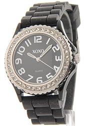 Xoxo Women's Rhinestone Accent Silver-Tone Rubber Hot Fashion Watch Xo3251