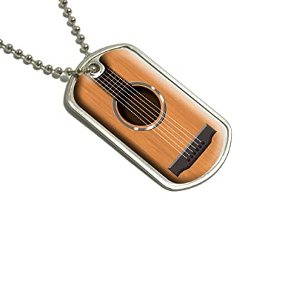 Acoustic Guitar Military Dog Tag Keychain