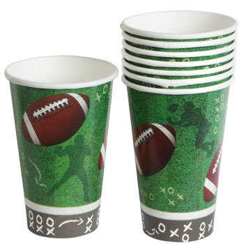 Football Paper Cups Plates Party Supplies Supply Trays NFL Sports Table cover Superbowl Game Day Tailgate 8 CUPS (Pooh Football compare prices)
