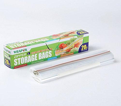 Sacs de conservation, sacs de congélation, lot de pochettes de transport - Fermeture ZIP - Grand modèle - Boîte de 20 sacs - 26,8 cm x 27,9 cm x 45 µm - Usage domestique et industriel