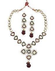 The Jewelbox Maroon Green Meenakari Enamel Kundan Gold Plat Necklace Earring Set