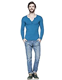 Tinted Men's Solid Henley Full Sleeve T-shirt