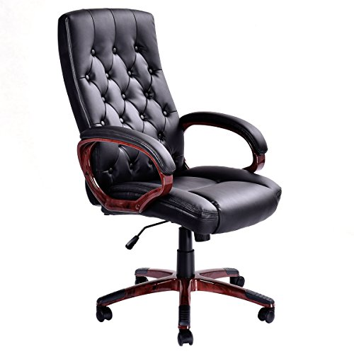 Giantex Ergonomic High Back Traditional Tufted Swivel Office Executive Chair, Black 0