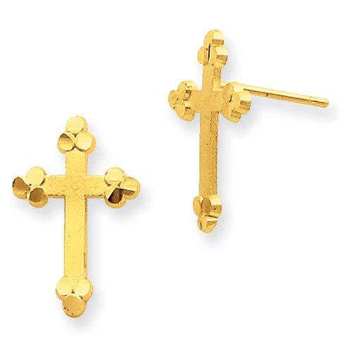 10k Budded Cross Earrings