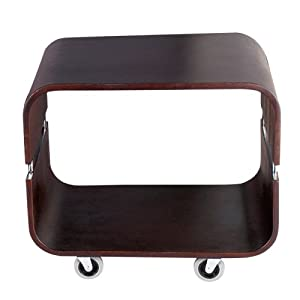 Adesso Contour Rolling End Table, Walnut