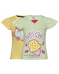 Punkster Yellow & Green T-Shirt Combo For Girls
