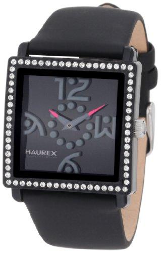 Haurex Italy NF369DNN - Reloj analógico de cuarzo para mujer con correa de piel, color negro
