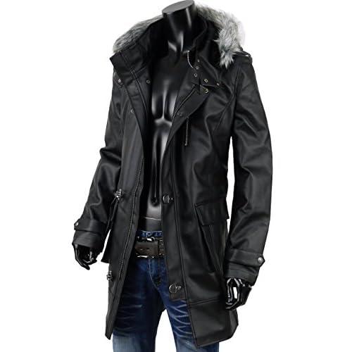 コート ミリタリー メンズ レザー ファイヤーマン 合成皮革 ミリタリー ロングコート NW-1540-5669 ブラック L