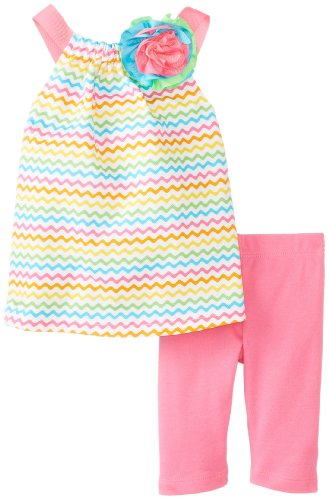 Mud Pie Baby-Girls Newborn Colorful Tunic And Legging Set, Multi, 9-12 Months front-1054065