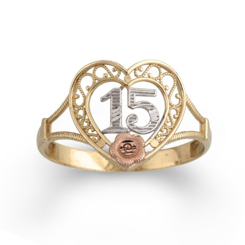 10k Tri-Colored Gold 15 Rose Ring