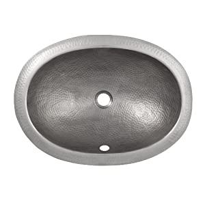 The copper factory cf152sn solid hand hammered copper oval for Hammered copper undermount bathroom sink
