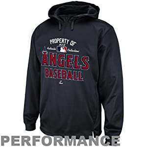 MLB Los Angeles Angels Property Of Therma Base Performance Hooded Fleece, Pro Granite by Majestic