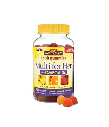 Nature Made Multi for Her Plus Omega-3s Adult Gummies, Lemon, Orange & Strawberry 90 ea (Pack of 2) (Nature Made Multi Adult Gummies compare prices)