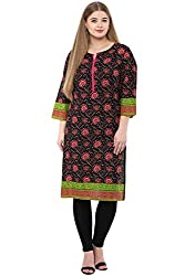 Alto Moda by Pantaloons Women's A-Line Kurta (205000005659365, BLACK, Large)