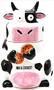 Ceramic Cow Cookie Jar Black White, 10 inches H by Pacific Trading