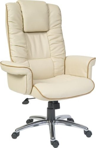 Teknik Windsor Cream Leather Executive Armchair Home Office