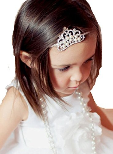 Qandsweet Baby Girl Headbands with Crystal Crown Hair Bow