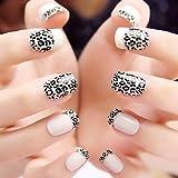 Evermarket(Tm) 24 Pcs Abs White Leopard Print Full Cover Nail Art Tips