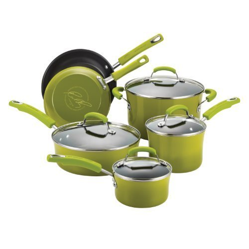 Rachael Ray Porcelain/Hard Enamel II Nonstick 10-Piece Cookware Set, Green Gradient by Rachael Ray (Cookware Set Green Gradient compare prices)