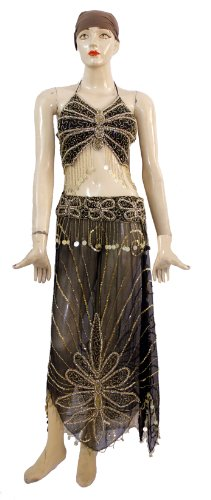 A Set Belly Dance Costume, Beaded Halter Top with Fringe and Full Circle Skirt Set