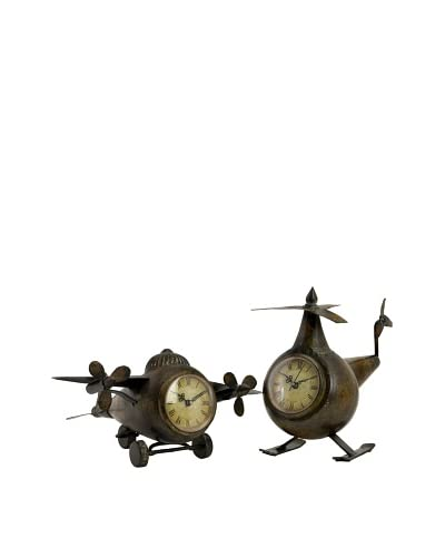 Expedition Set of 2 Lindbergh Aviation Clocks, Bronze