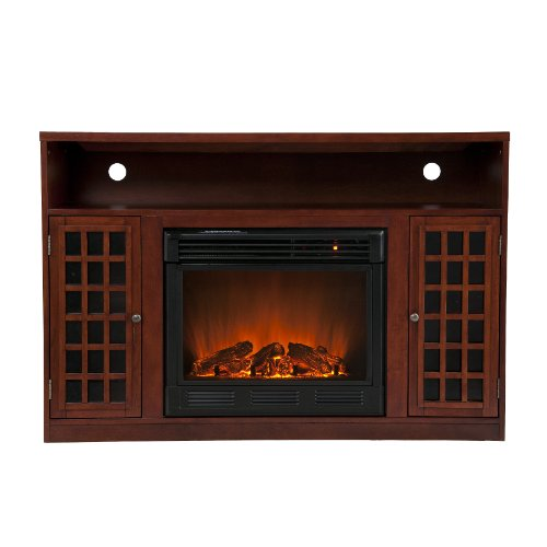 Narita Mahogany Electric Fireplace Media Console image B008AL727U.jpg