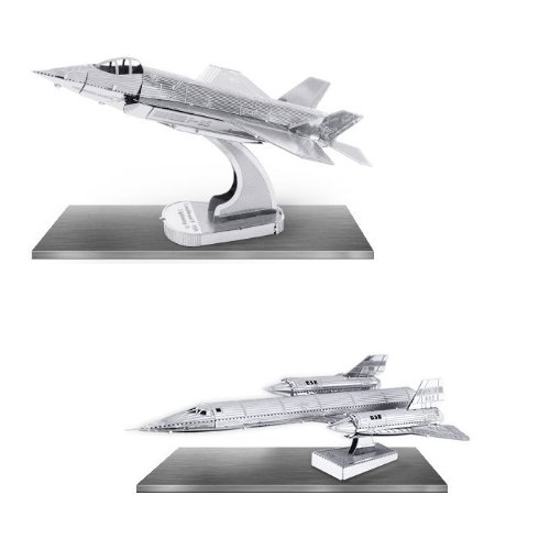 Metal Earth 3D Laser Cut Models - Lockheed Martin SR71 Blackbird AND F35 Lightning II Jet Airplanes = SET OF 2 - 1