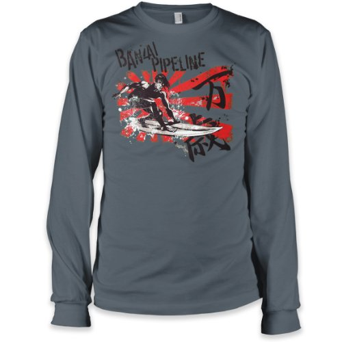Banzai Pipeline, Oahu, Hawaii Long-Sleeve Fine Jersey T-Shirt, Asphalt, XL