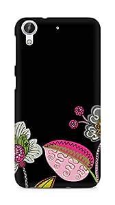 Amez designer printed 3d premium high quality back case cover forHTC Desire 626 G (black floral)