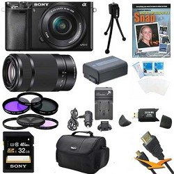 Sony a6000 ILCE6000LB ILCE-6000L/B ILCE6000 Alpha a6000 24.3 Interchangeable Lens Camera with 16-50mm Power Zoom Lens BUNDLE with SEL 55-210 (Black), 32GB Class 10 Card, Spare Battery, Deluxe Padded Case, DVD SLR Guide, SD Card Reader, and MORE Review