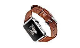 Orario Apple Watch Replacement Band, Genuine Crafted Leather with Secure Stainless Steel Buckle, High-quality Wristband for Sport & Edition Models (38mm Chestnut)